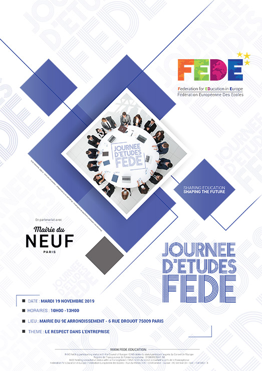 FEDE Study Day the Novembre 19th, 2019 at the City Hall of the 9th at 6 rue Drouot 75009 Paris
